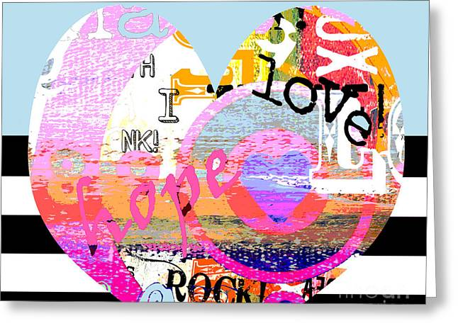 Inspirational Licensing Greeting Cards - Colorful Bohemian Heart on BW Stripes Greeting Card by Anahi DeCanio - ArtyZen Studios