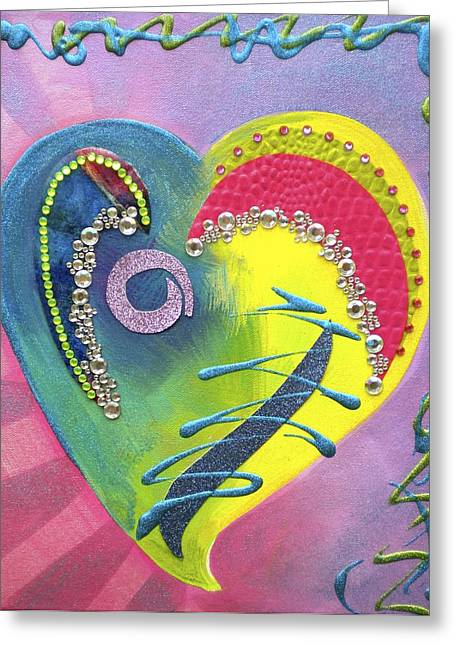 Shiny Mixed Media Greeting Cards - Heartworks Greeting Card by Debi Starr