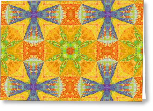 Green And Yellow Abstract Greeting Cards - Heat Wave Abstract Design Greeting Card by Georgiana Romanovna