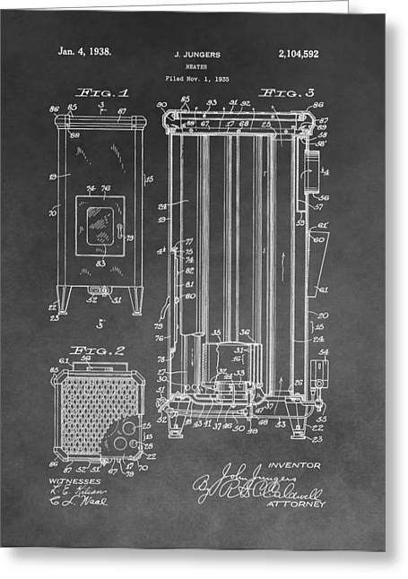 Mechanics Drawings Greeting Cards - Heater Patent Greeting Card by Dan Sproul