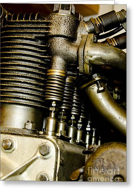 Single-engine Photographs Greeting Cards - Heath-Henderson Motorcycle Engine Greeting Card by Wilma  Birdwell