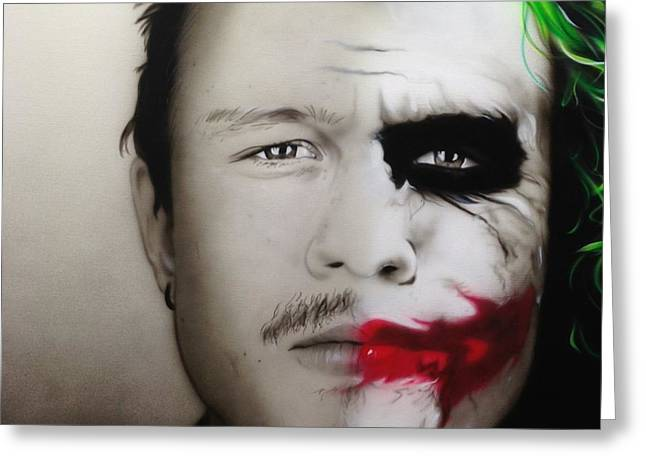 'Heath / Joker' Greeting Card by Christian Chapman Art