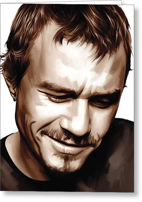 Heath Ledger Greeting Cards - Heath Ledger Artwork Greeting Card by Sheraz A