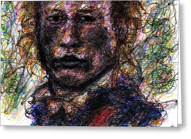 Revolutionary War Mixed Media Greeting Cards - Heath Ledger as Gabriel Martin - The Patriot Greeting Card by Rachel Scott
