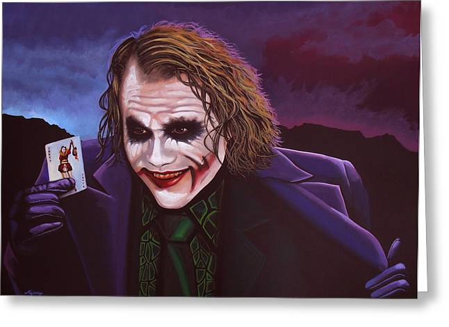 Character Portraits Paintings Greeting Cards - Heath Ledger as the Joker 2 Greeting Card by Paul Meijering