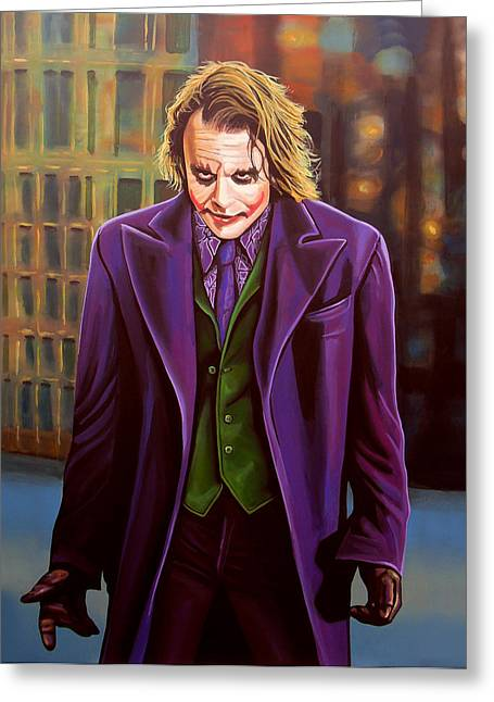 Character Portraits Paintings Greeting Cards - Heath Ledger as the Joker Greeting Card by Paul  Meijering
