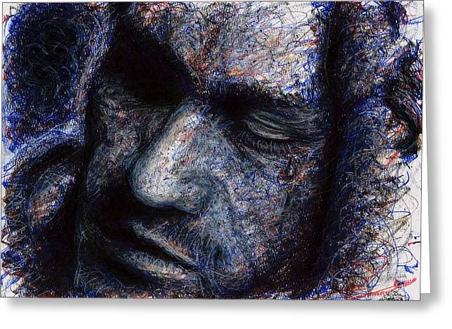 Heath Ledger - Blue Greeting Card by Rachel Scott