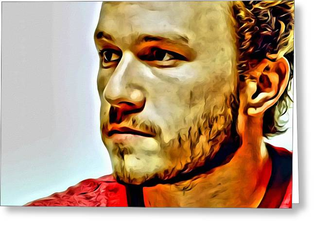Heath Ledger Portrait Greeting Card by Florian Rodarte