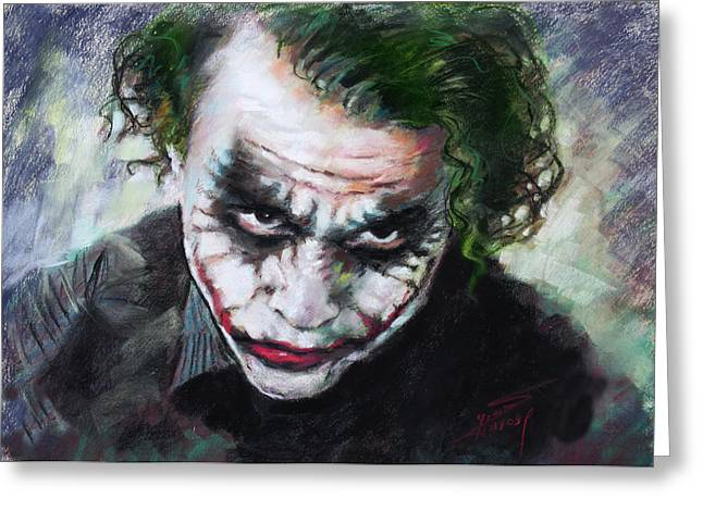 Heath Ledger Greeting Cards - Heath Ledger The Dark Knight Greeting Card by Viola El