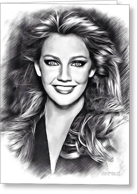 Carrington Greeting Cards - Heather Locklear Sketch Greeting Card by Scott Wallace