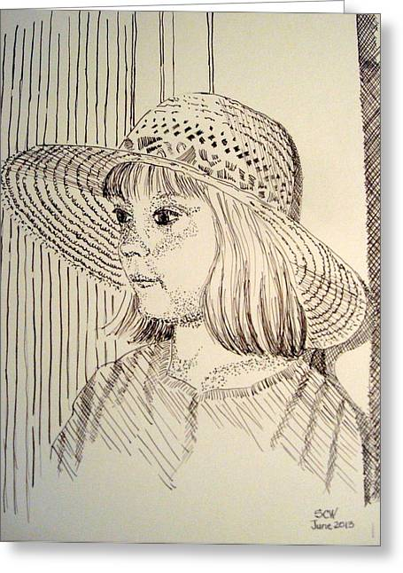 Straw Hat Drawings Greeting Cards - Heather Greeting Card by Susan Woodward