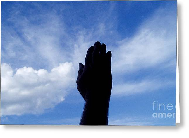 Praying Hands Paintings Greeting Cards - Heaven Greeting Card by Eldon Frantz