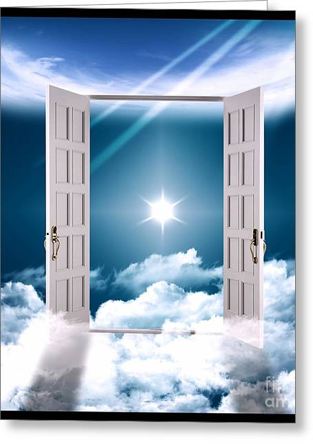 Inside Of Greeting Cards - Heaven Gate on Clouds Greeting Card by Stefano Senise