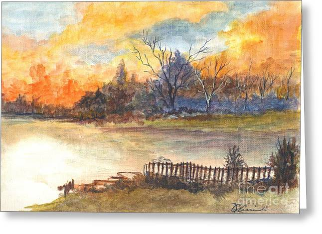 Sunset Greeting Cards Drawings Greeting Cards - Heaven Is Waiting Beyond Greeting Card by Carol Wisniewski