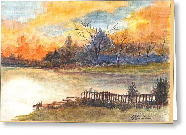 Sunset Greeting Cards Drawings Greeting Cards - The Serene Sunset Greeting Card by Carol Wisniewski