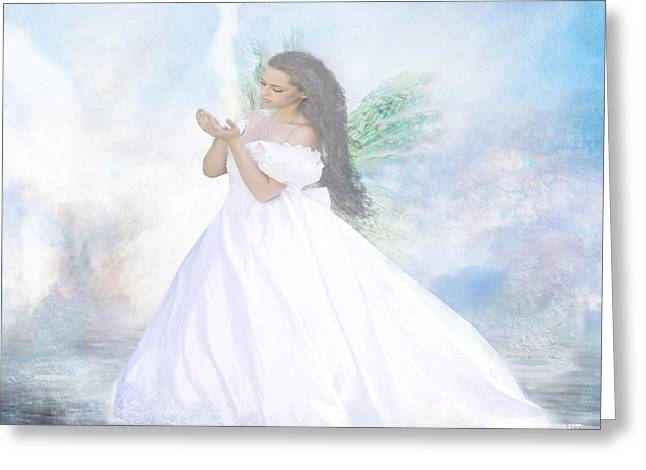 Faith Pastels Greeting Cards - Heavenly Angel Greeting Card by Yvon van der Wijk