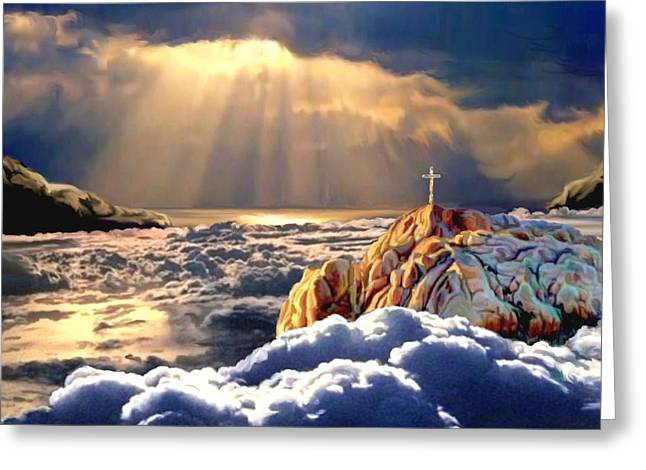 Cross On The Grave Greeting Cards - Heavenly Ascension Greeting Card by Ronald Chambers