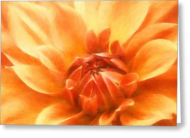 Artistic Photography Mixed Media Greeting Cards - Heavenly Dahlia Greeting Card by Georgiana Romanovna