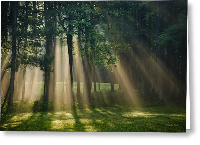 Peaceful Scenery Greeting Cards - Heavenly Light Sunrise Greeting Card by Christina Rollo