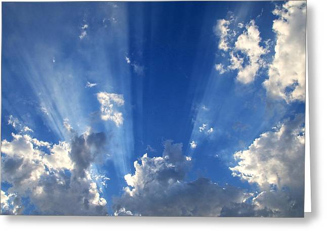 Himmel Greeting Cards - Heavenly Light Greeting Card by Nina Prommer
