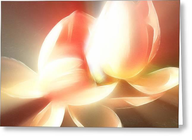 Heavenly Mixed Media Greeting Cards - Heavenly Lilies Greeting Card by Georgiana Romanovna