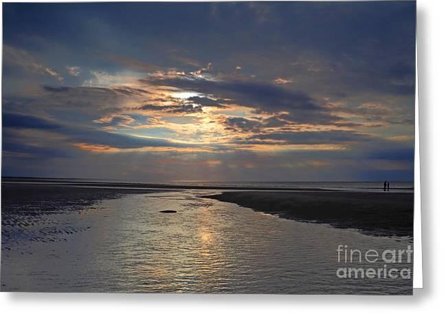 Mayflower Beach Greeting Cards - Heavenly Rays Greeting Card by Lisa Cranshaw