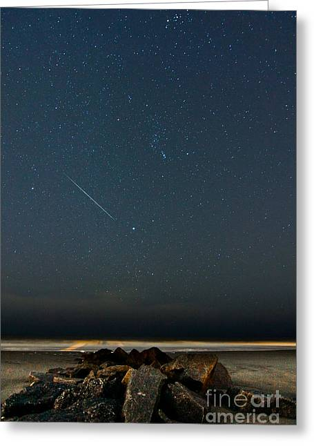 Geminids Greeting Cards - Heavenly Streak Greeting Card by Matthew Trudeau