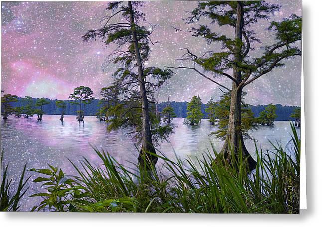 Cypress Tree Digital Art Greeting Cards - Heavenly Sunrise Greeting Card by J Larry Walker