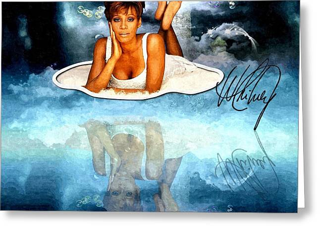 Womanly Mixed Media Greeting Cards - Heavenly Whitney - A Tribute Greeting Card by Amanda Struz