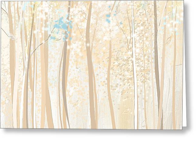 Beige Abstract Greeting Cards - Heavenly Woods- Teal And White Art Greeting Card by Lourry Legarde