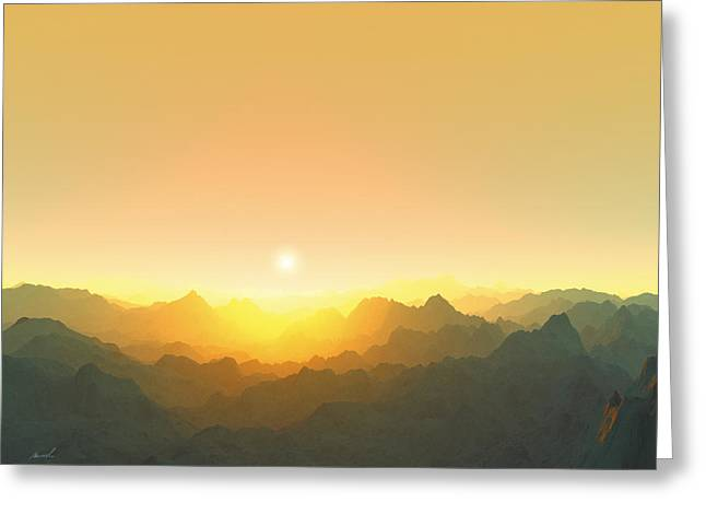 Terragen Greeting Cards - Heavens Breath 3 Greeting Card by Jeanette Charlebois