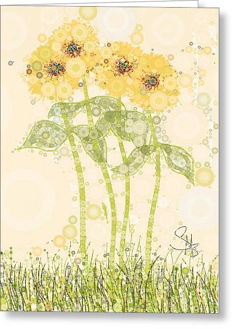 Green And Yellow Digital Greeting Cards - Heavens Breath Greeting Card by Steven Boland