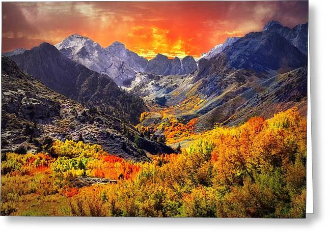 Beautiful Creek Greeting Cards - Heavens Fire  Greeting Card by Lynn Bauer