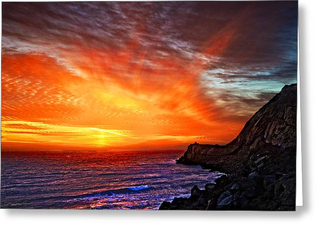 Ventura California Greeting Cards - Heavens Fire Over the Pacific Greeting Card by Lynn Bauer