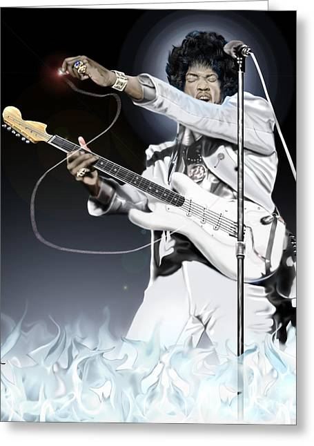 Super Stars Greeting Cards - Heavens Fire - The Jimi Hendrix Series  Greeting Card by Reggie Duffie
