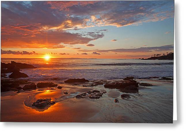 Heavens Gate Greeting Cards - Sunset Reflections Divers Cove Laguna Beach Greeting Card by Cliff Wassmann
