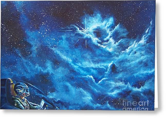 Astros Paintings Greeting Cards - Heavens Gate Greeting Card by Murphy Elliott