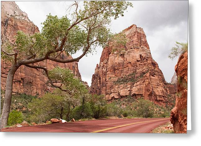 Geobob Greeting Cards - Heavens Gate to Angels Landing in Zion National Park Utah Greeting Card by Robert Ford