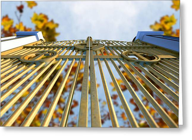 Radiates Greeting Cards - Heavens Golden Gates And Autumn Leaves Greeting Card by Allan Swart