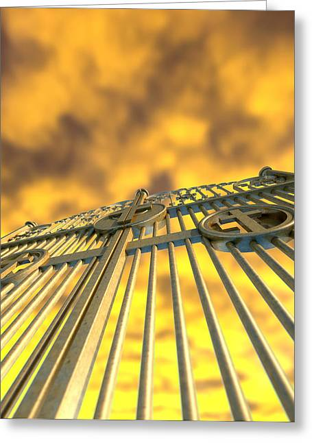 Radiates Greeting Cards - Heavens Golden Gates And Yellow Sky Greeting Card by Allan Swart