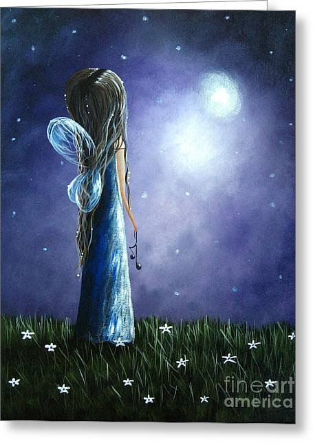 Night Angel Greeting Cards - Heavens Little Helper by Shawna Erback Greeting Card by Shawna Erback