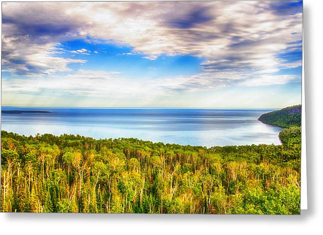 Utopia Greeting Cards - Heavens Over Lake Superior Greeting Card by Bill Tiepelman