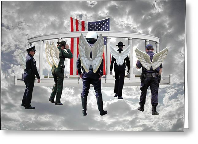 Best Sellers -  - Police Officer Greeting Cards - Heavens Pride Greeting Card by Lydia Warner Miller