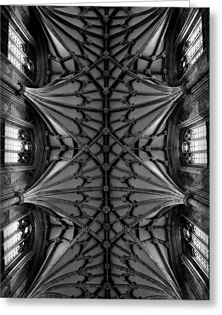 The Vault Greeting Cards - Heavenward -- Winchester Cathedral Ceiling in Black and White Greeting Card by Stephen Stookey