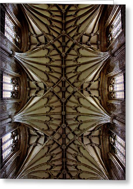 Gothic Cathedral Greeting Cards - Heavenward -- Winchester Cathedral Ceiling Greeting Card by Stephen Stookey