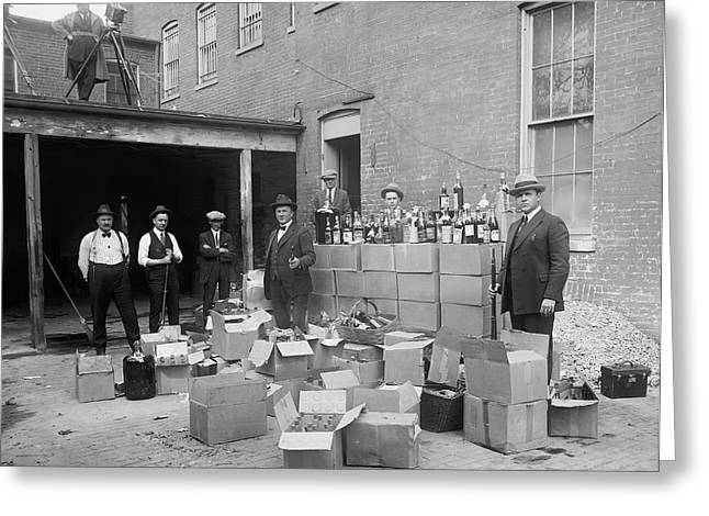HEAVILY ARMED FEDS SEIZE LIQUOR CACHE 1922 Greeting Card by Daniel Hagerman