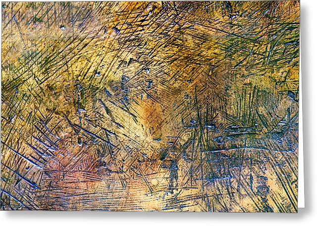 Metallic Sheets Greeting Cards - Heavily Distressed Metal Greeting Card by Chay Bewley