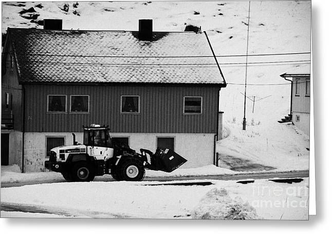 Heavy-duty Greeting Cards - Heavy Duty Loader Carrying Grit And Stones For Winter Road Preparation Havoysund Finnmark Norway  Greeting Card by Joe Fox