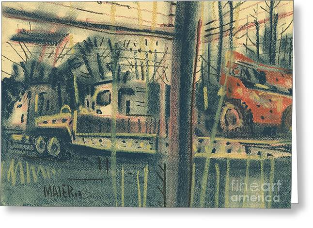Back Pastels Greeting Cards - Heavy Equipment Rentals Greeting Card by Donald Maier