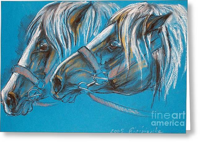 Heavy Horses Greeting Card by Angel  Tarantella
